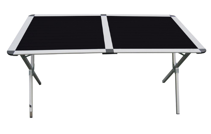 table de camping pliante plateau noir en aluminium de 140cm. Black Bedroom Furniture Sets. Home Design Ideas