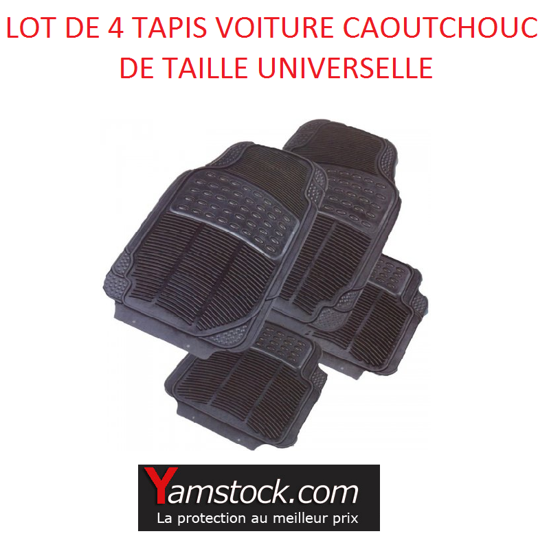 lot de 4 tapis de voiture caoutchouc taille universelle. Black Bedroom Furniture Sets. Home Design Ideas