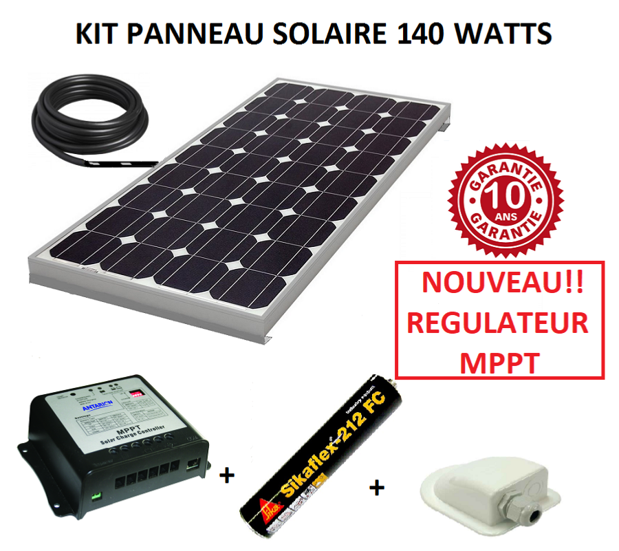 kit panneau solaire 140w monocristallin mppt pour camping car. Black Bedroom Furniture Sets. Home Design Ideas