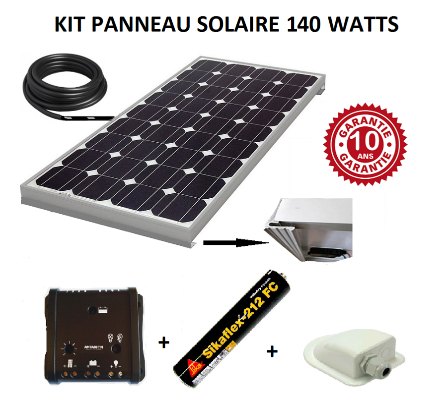 kit panneau solaire 140w monocristallin pour camping car. Black Bedroom Furniture Sets. Home Design Ideas