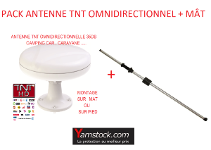 Pack antenne TNT omnidirectionnelle 35 Db + Mât d'antenne
