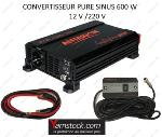 Convertisseur de tension pur sinus 600w 12v / 220v