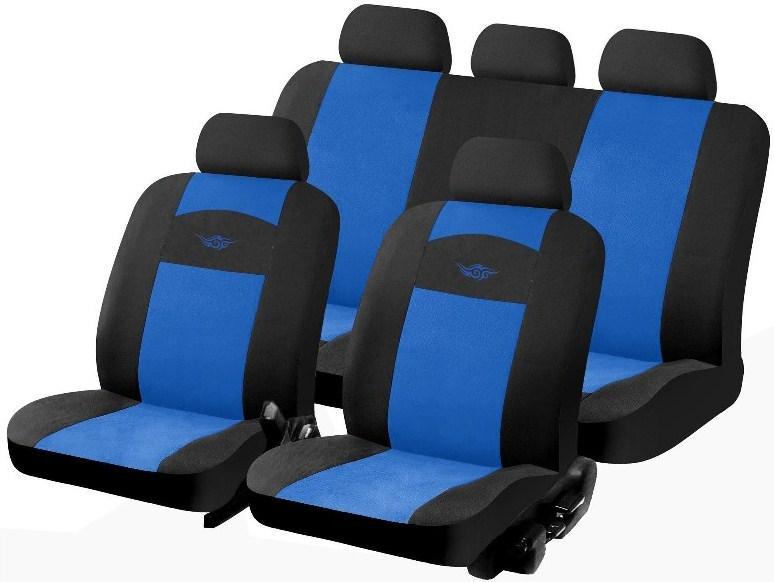 Housse de sieges voiture noir et bleu 9pieces universelle for Housse sieges voiture