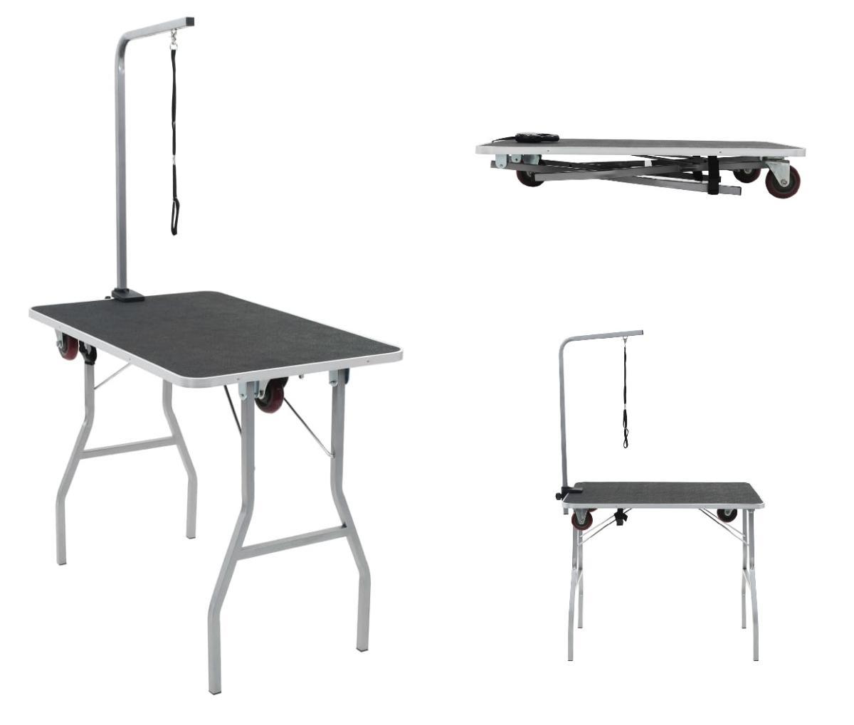 Table De Toilettage Pliante Sur Roulettes Avec Sangle De Maintien