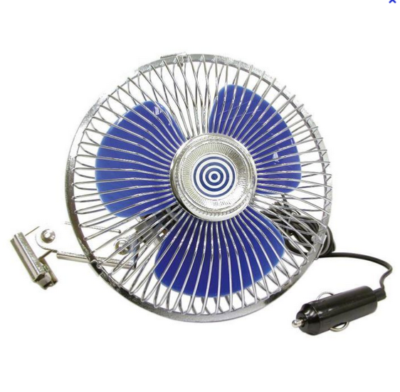 Ventilateur métal oscillant 12 volts