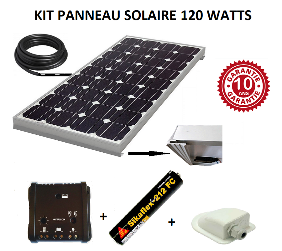 kit panneau solaire 120w monocristallin pour camping car. Black Bedroom Furniture Sets. Home Design Ideas