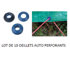Lot de 10 oeillets auto perforants pour baches RX