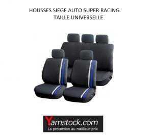 housses pour si ges de voiture bleu noir super racing compatible airbags. Black Bedroom Furniture Sets. Home Design Ideas