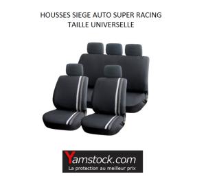 housses pour si ges de voiture grise noir super racing compatible airbags. Black Bedroom Furniture Sets. Home Design Ideas