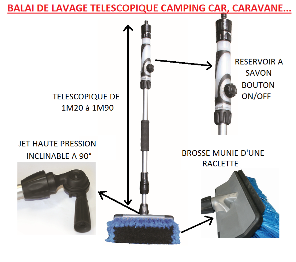 balai brosse de lavage t l scopique voiture camping car. Black Bedroom Furniture Sets. Home Design Ideas