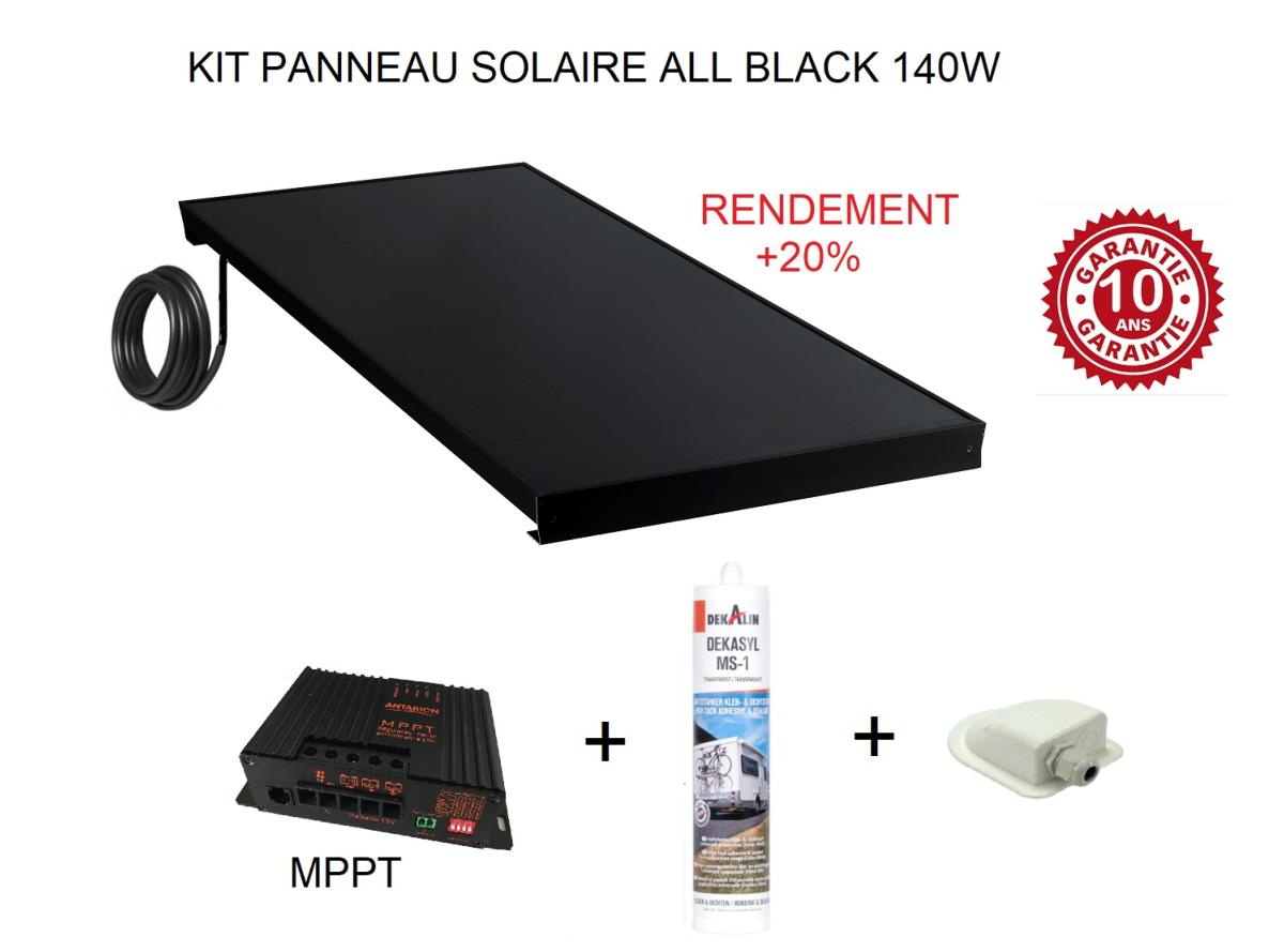 kit panneau solaire 120w pour camping car all black 20. Black Bedroom Furniture Sets. Home Design Ideas