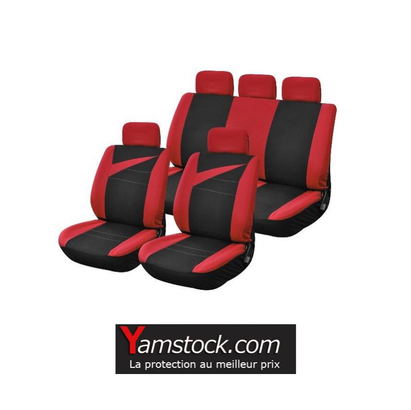 Housse de sieges voiture noir et rouge 9 pieces universelle for Housse sieges voiture
