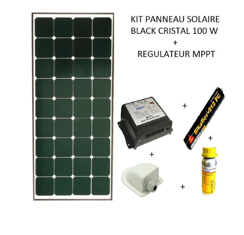 kit panneau solaire 100w pour camping car black booster. Black Bedroom Furniture Sets. Home Design Ideas
