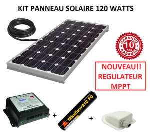 kit panneau solaire 120w monocristallin mppt pour camping car. Black Bedroom Furniture Sets. Home Design Ideas