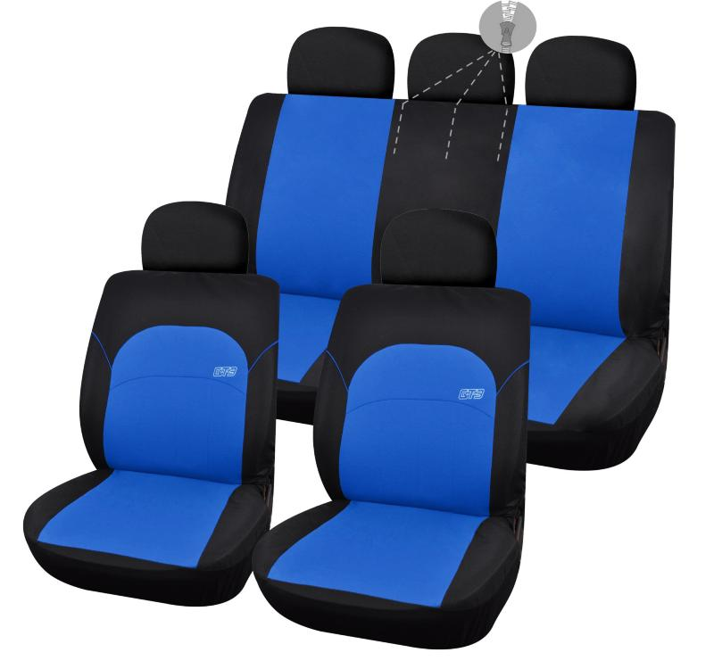 housse de sieges voiture noire et bleue logo gt3. Black Bedroom Furniture Sets. Home Design Ideas