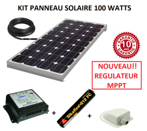 kit panneau solaire 100w mptt pour camping car monocristallin. Black Bedroom Furniture Sets. Home Design Ideas