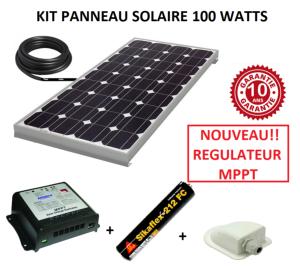 kit panneau solaire 100w mptt pour camping car monocristallin. Black Bedroom Furniture Sets. Home Design Ideas
