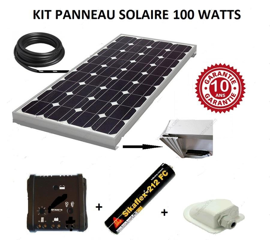 kit panneau solaire 100w pour camping car monocristallin. Black Bedroom Furniture Sets. Home Design Ideas