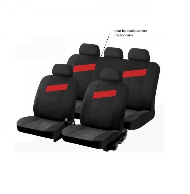 housse pour siege de voiture noir et rouge tempo. Black Bedroom Furniture Sets. Home Design Ideas