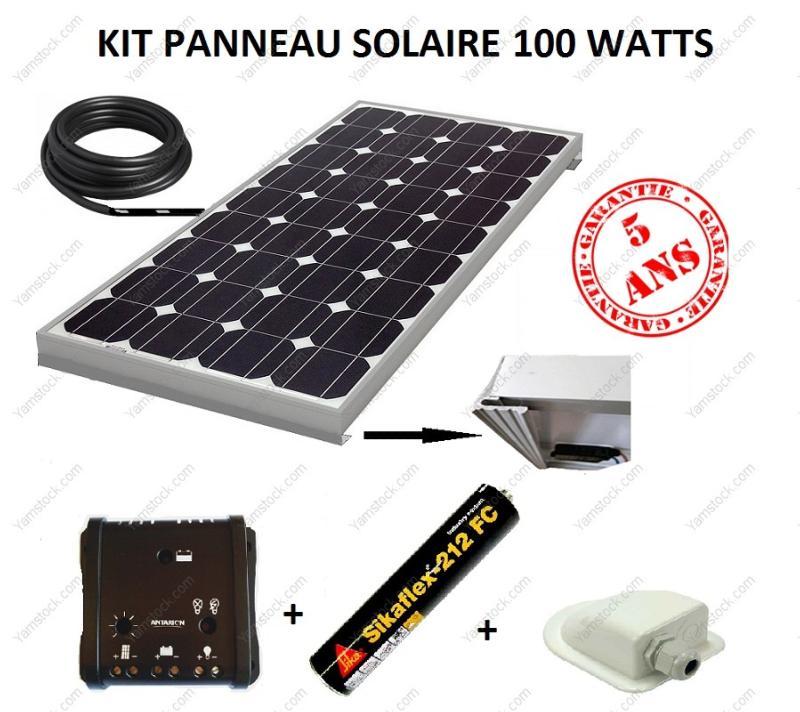kit panneau solaire 100w pour camping car monocristallin. Black Bedroom Furniture Sets. Home Design Ideas